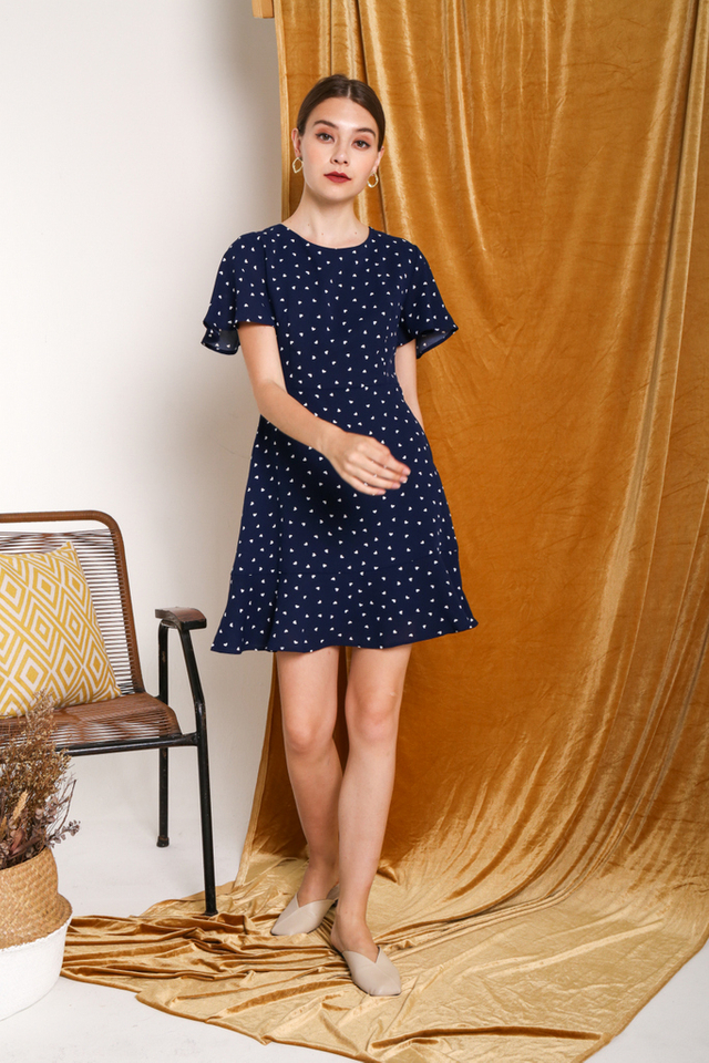 Narea Heart Shaped Dress in Navy