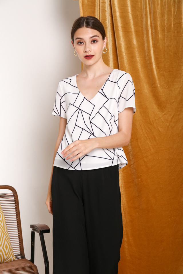 Kelby Geometric Top in White