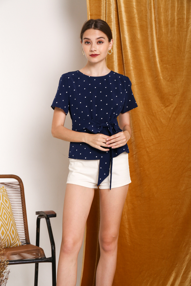 Saffron Polka Dot Tie-Front Top in Navy