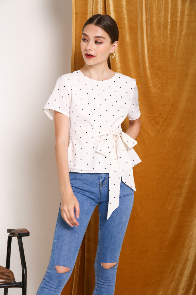 Saffron Polka Dot Tie-Front Top in White
