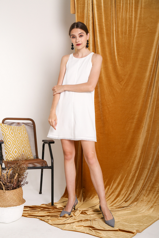 Harlynn Sleeveless Tweed Dress in White