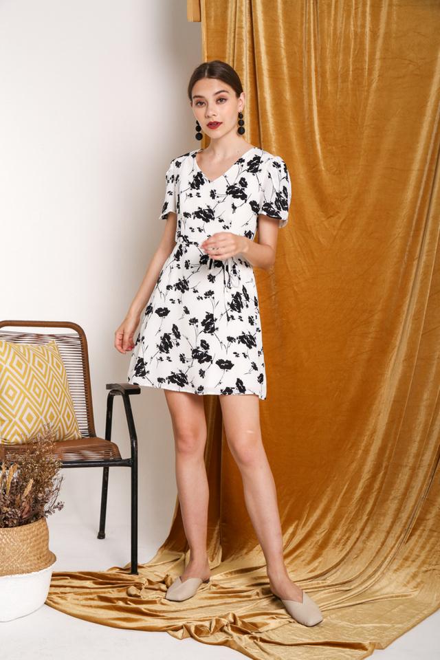Vivianne V Neck Floral Dress in White