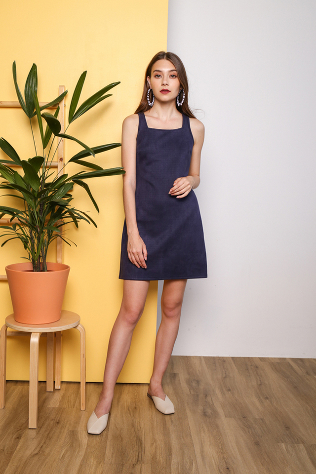 Sofea Square Neck Suede Dress in Navy