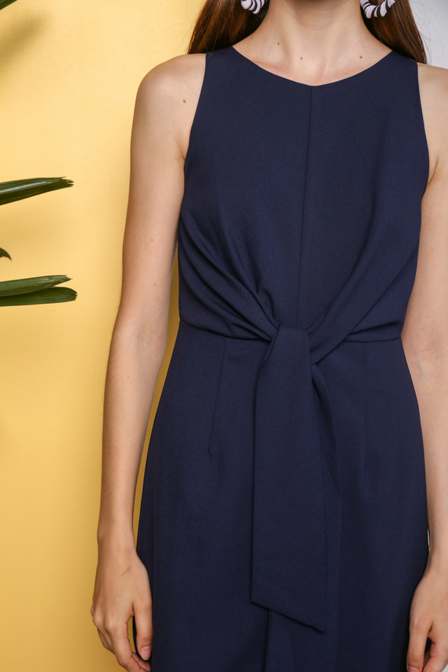 Shaylee Knot Tie Midi Dress in Navy