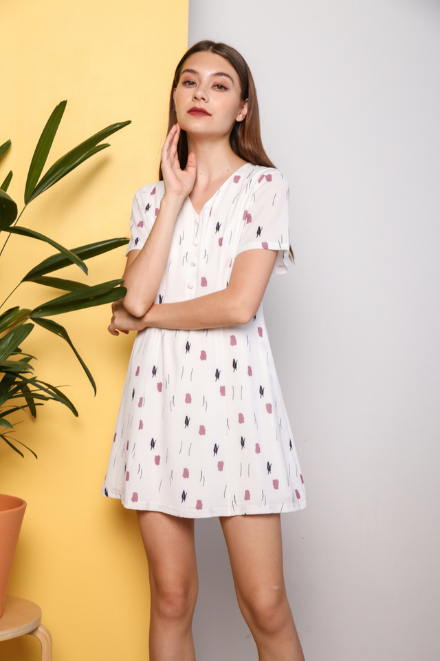 Salena Printed Button Flare Dress in White