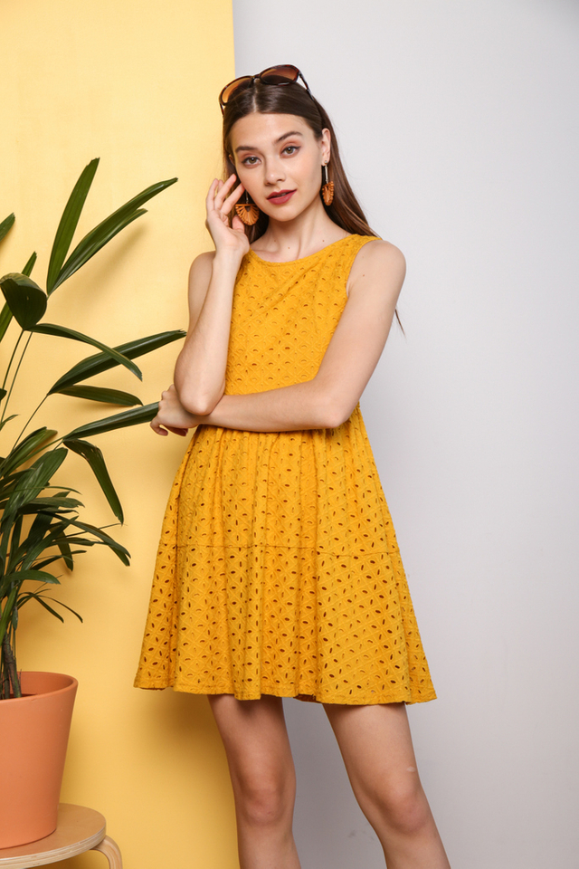 Camlyn Eyelet Dress in Mustard