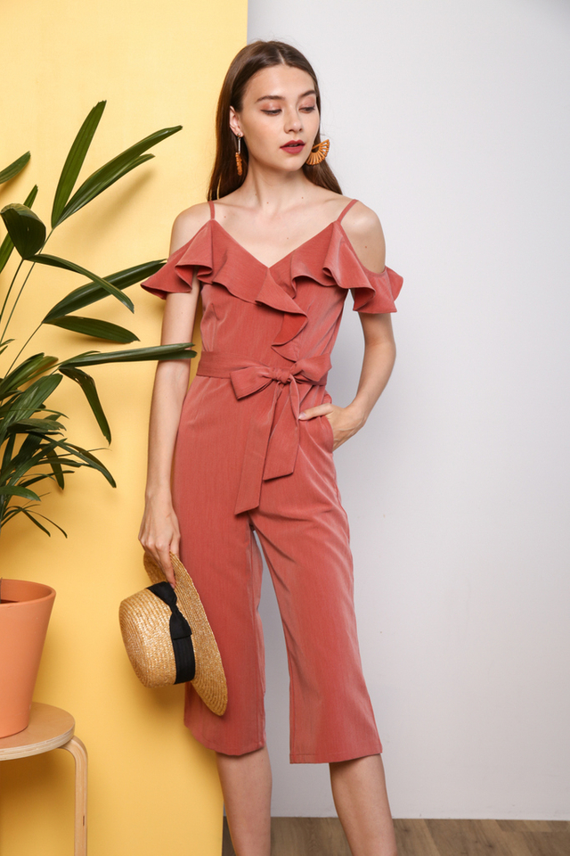Zoelle Cold Shoulder Ruffles Jumpsuit in Terracotta