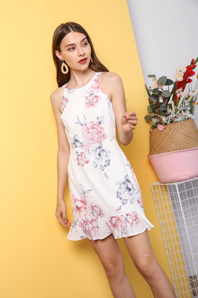 Youra Halter Dropwaist Dress in White