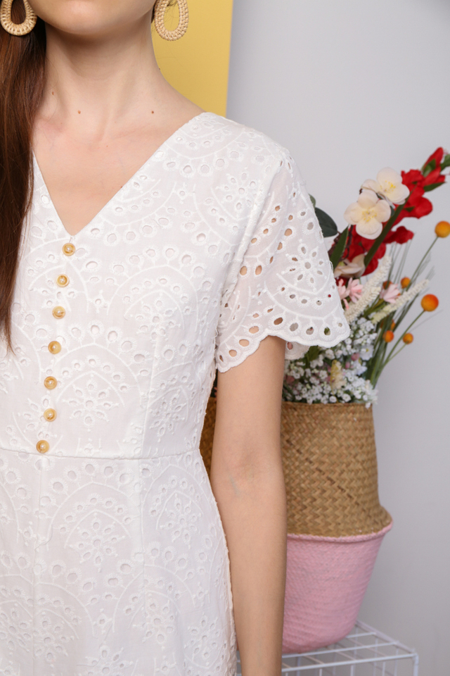 Jihyun Eyelet Button Romper in White