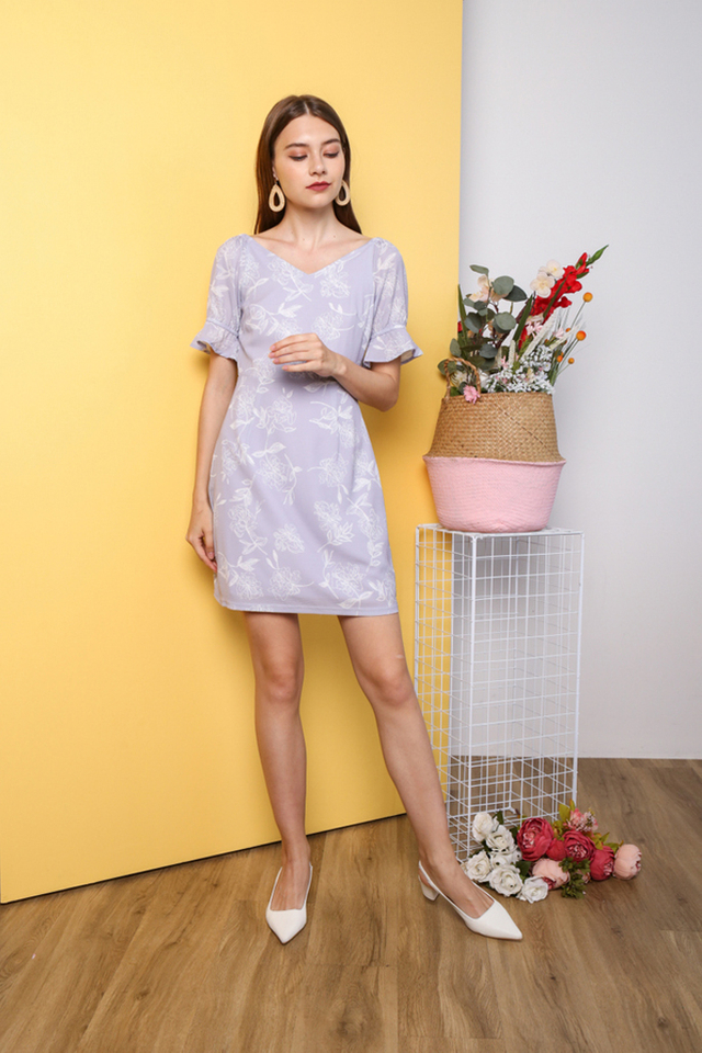 *TSW Exclusive Print* Nara V Neck Dress in Lilac