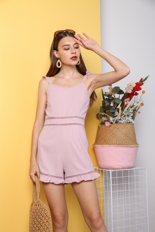 Taemi Ruffles Shoulder Playsuit in Pink