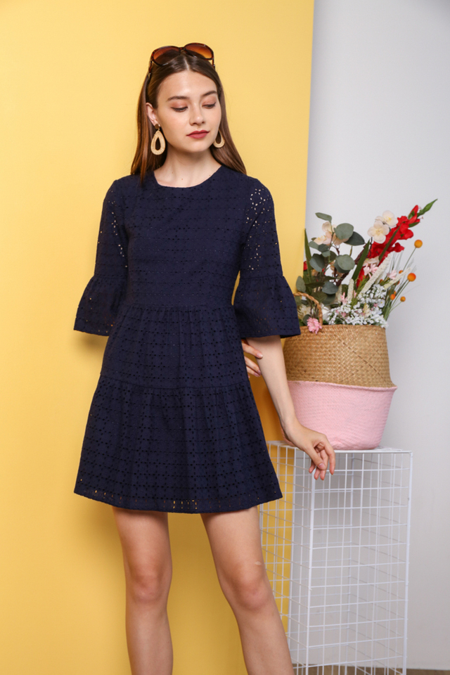 Hea Premium Eyelet Sleeve Dress in Navy
