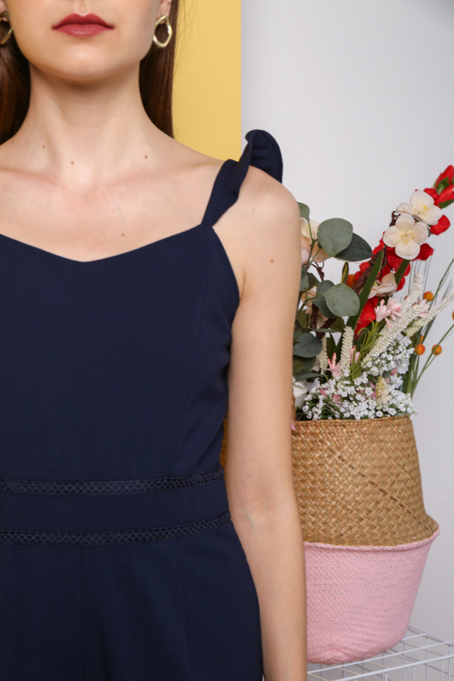 Taemi Ruffles Shoulder Playsuit in Navy