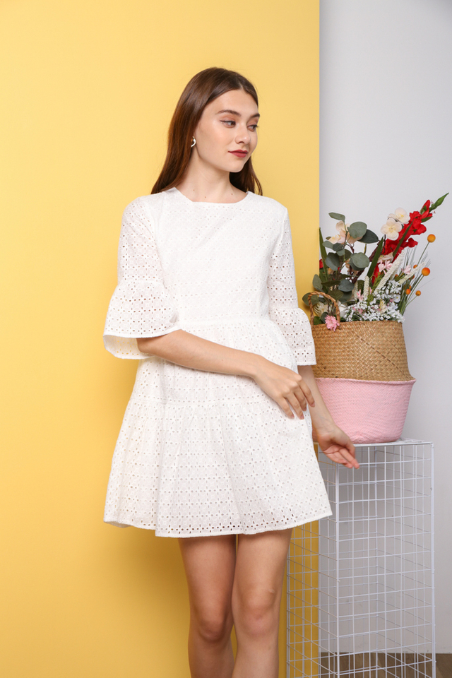 Hea Premium Eyelet Sleeve Dress in White