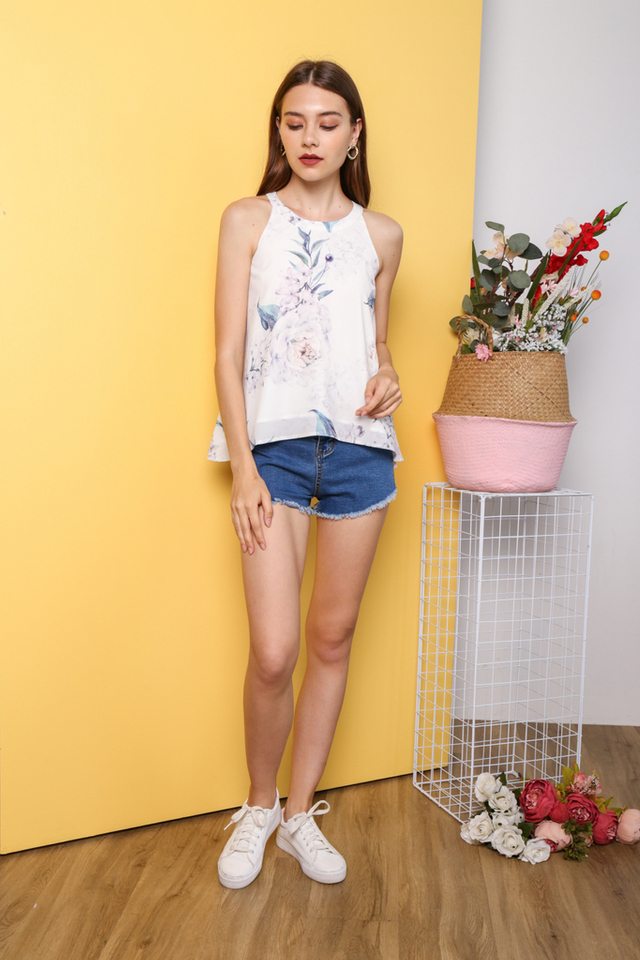 Sangjin Floral Halter Neck Top in White