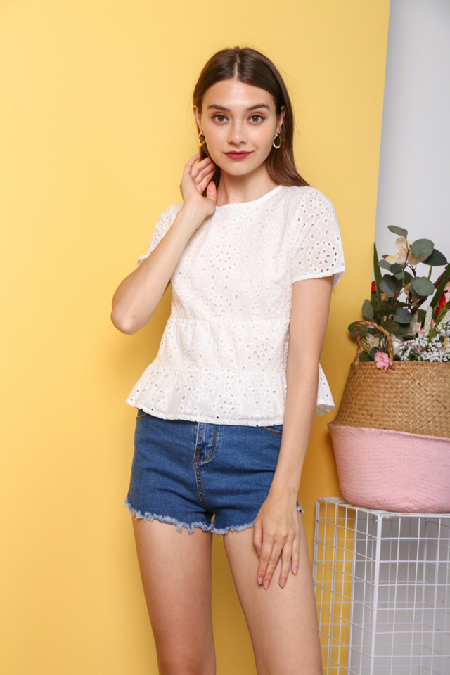 Youngmi Eyelet Top in White