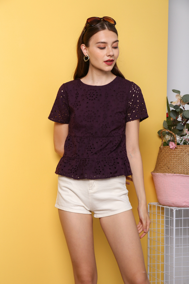Youngmi Eyelet Top in Plum