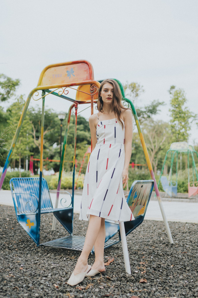 Emery Striped Midi Dress in White