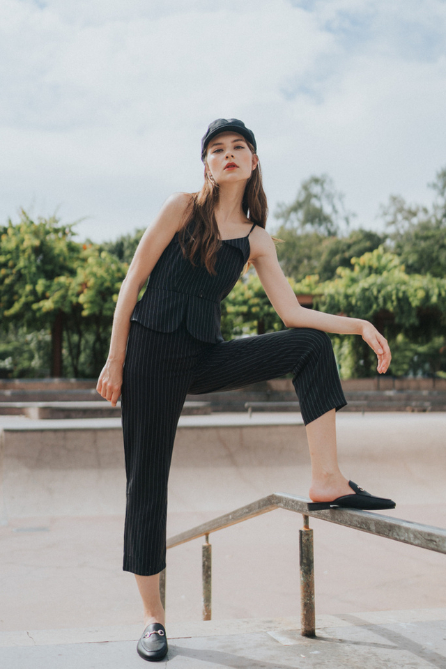 Simone Button Pinstripe Jumpsuit in Black