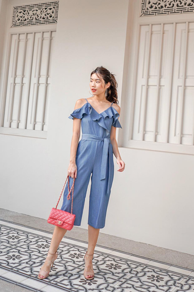 Zoelle Cold Shoulder Ruffles Jumpsuit in Denim Blue (XS)