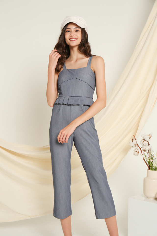 Scarlett Peplum Pleated Jumpsuit in Blue