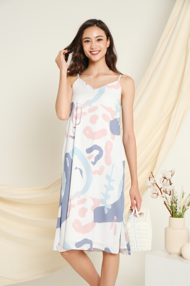 Estelle Printed Midi Dress in Pink