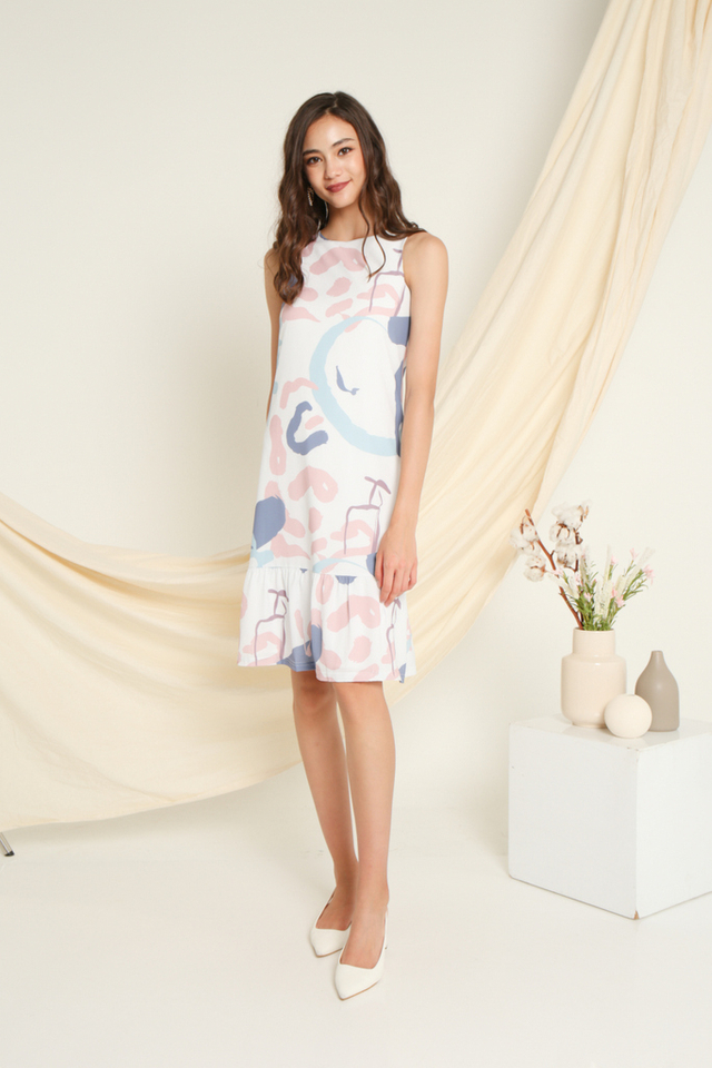 Ellai Printed Dropwaist Dress in Pink