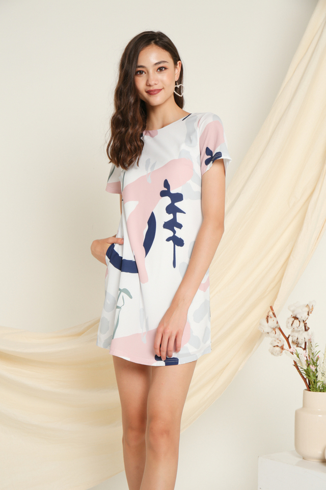 Eloise Printed Shift Dress in Navy