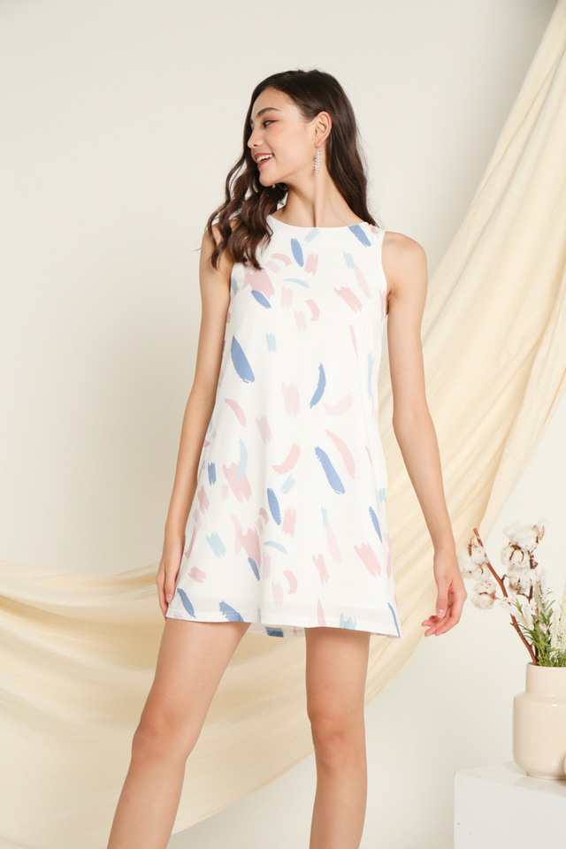 Nora Printed Sleeveless Dress in Pink