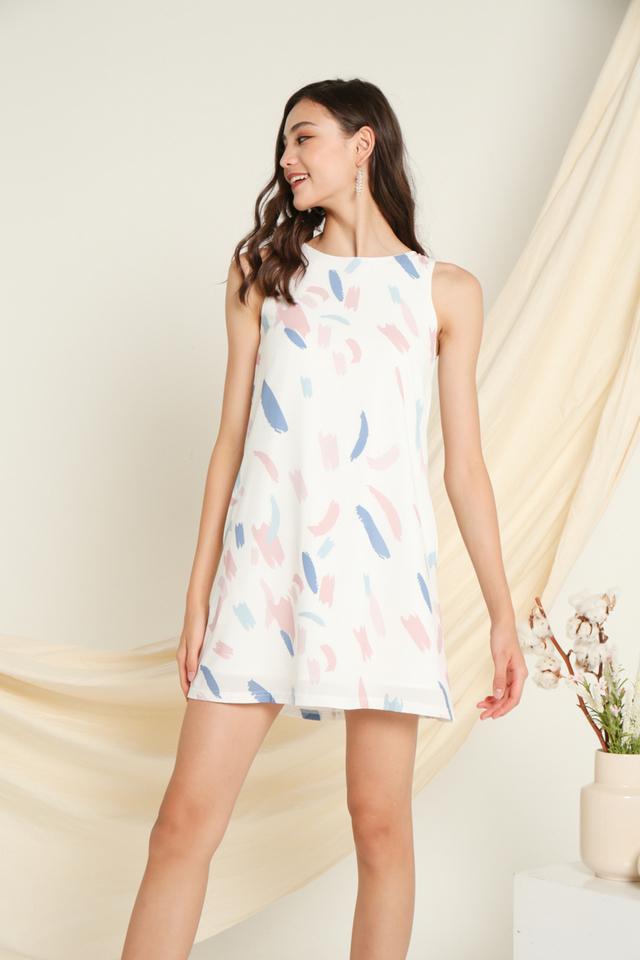 Nora Printed Sleeveless Dress in Pink (XL)