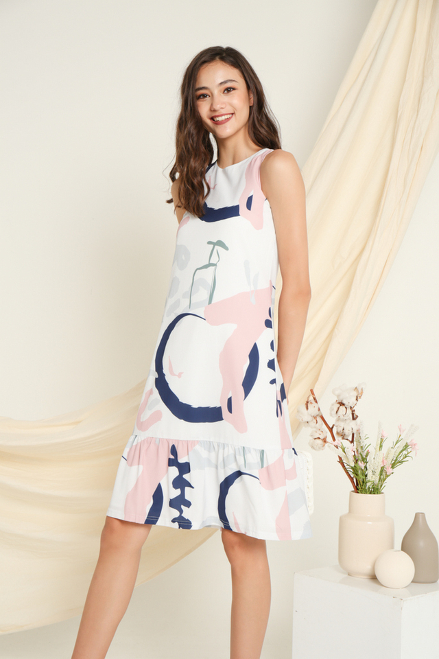 Ellai Printed Dropwaist Dress in Navy