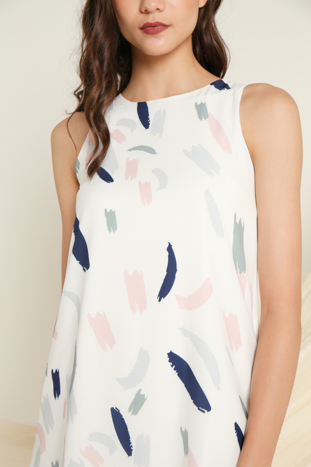 Nora Printed Sleeveless Dress in Navy