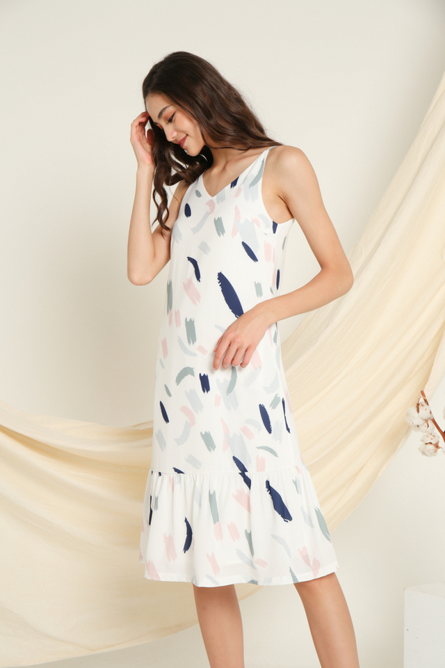 Noelle Printed Midi Dress in Navy