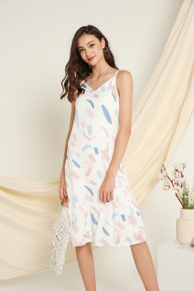 Noelle Printed Midi Dress in Pink
