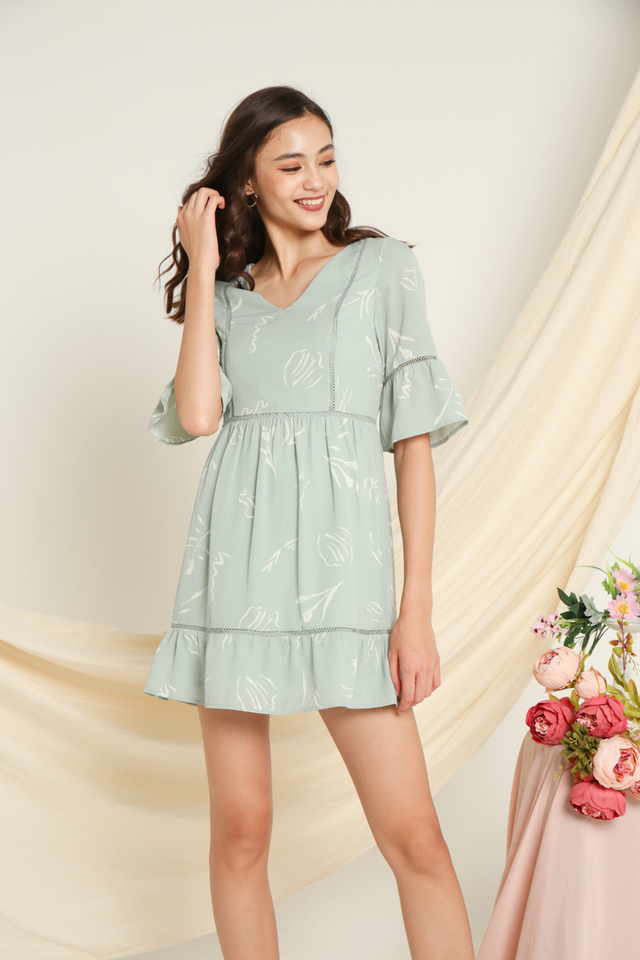 Cheryl Printed Sleeves Dress in Sage