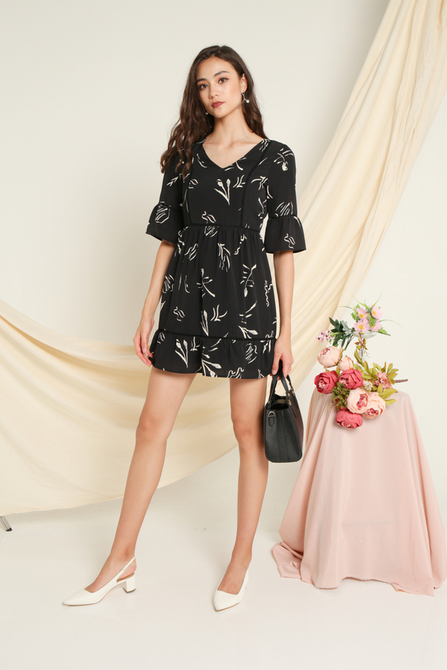Cheryl Printed Sleeves Dress in Black