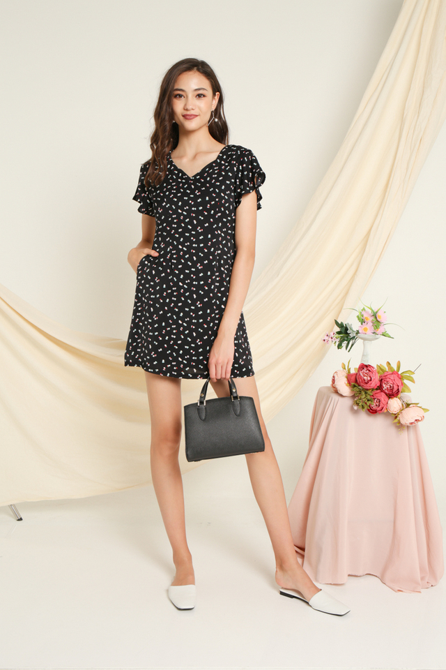 Tessa Heart Shaped Keyhole Dress in Black
