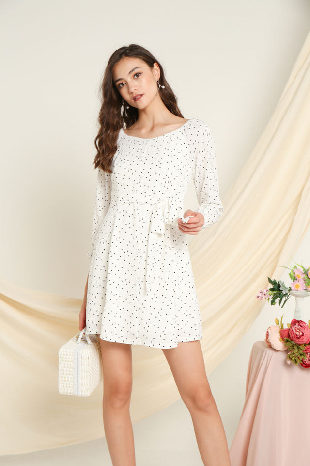 Baylee Elastic Shoulder Button Dress in White