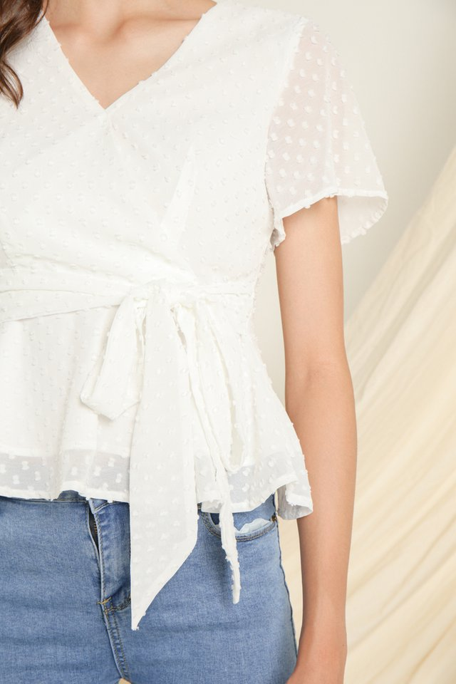 *BACKORDER III* Kasey Swiss Dots Peplum Top in White