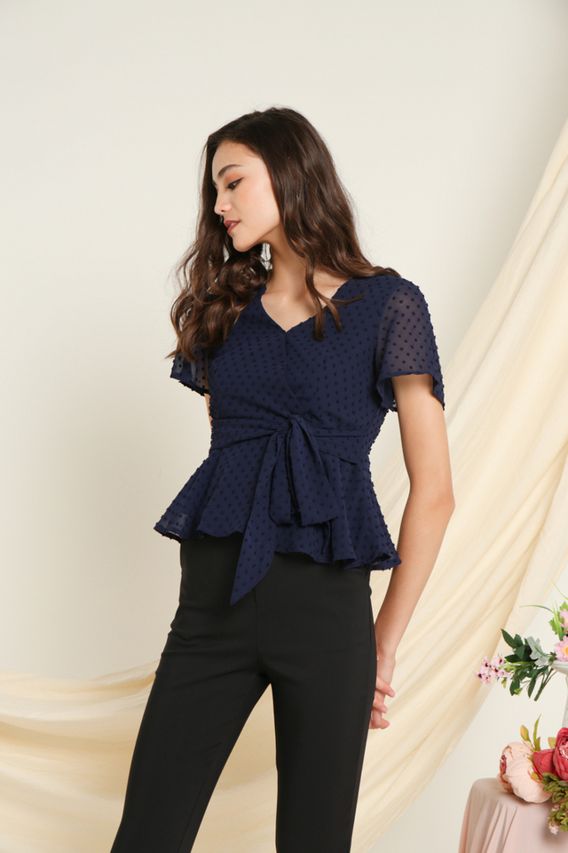 *BACKORDER* Kasey Swiss Dots Peplum Top in Navy