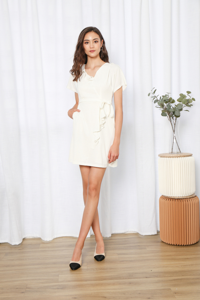 Delena Ruffles Hem Ribbon Dress in White