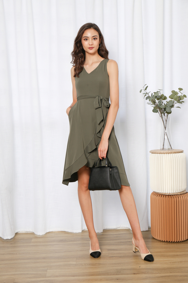 Yadira Ruffles Hem Midi Dress in Olive (XL)
