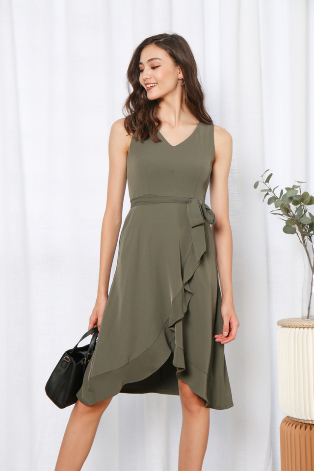 Yadira Ruffles Hem Midi Dress in Olive