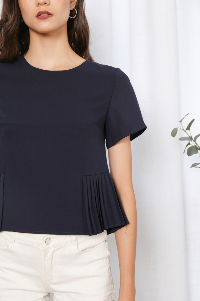Rafaela Side Pleated Top in Navy