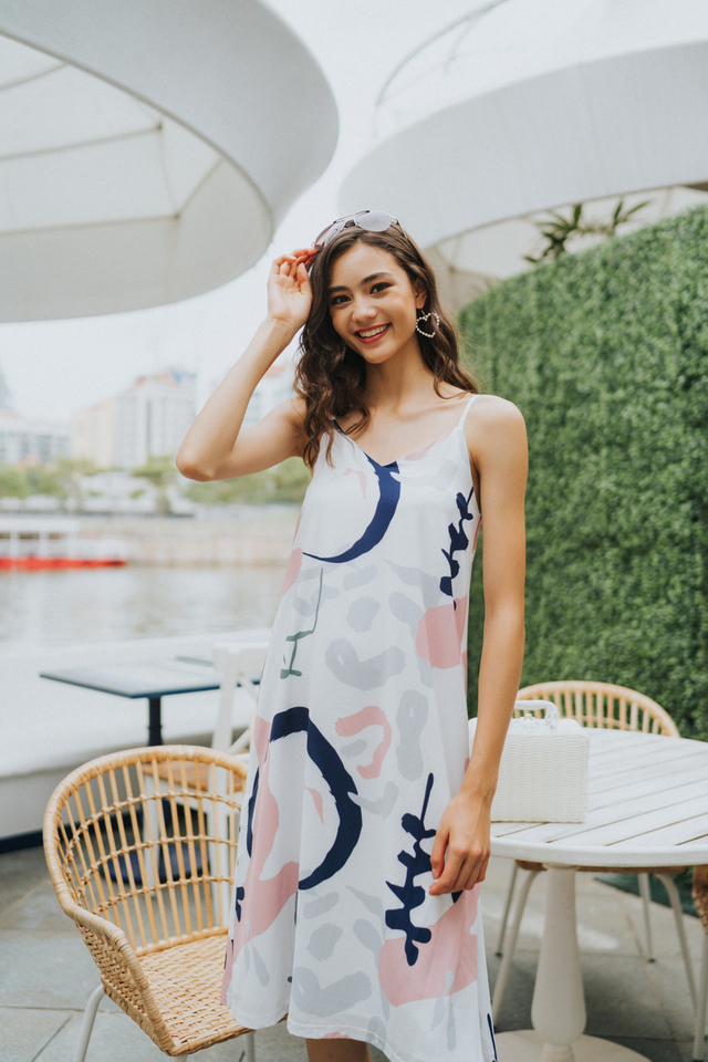 Estelle Printed Midi Dress in Navy