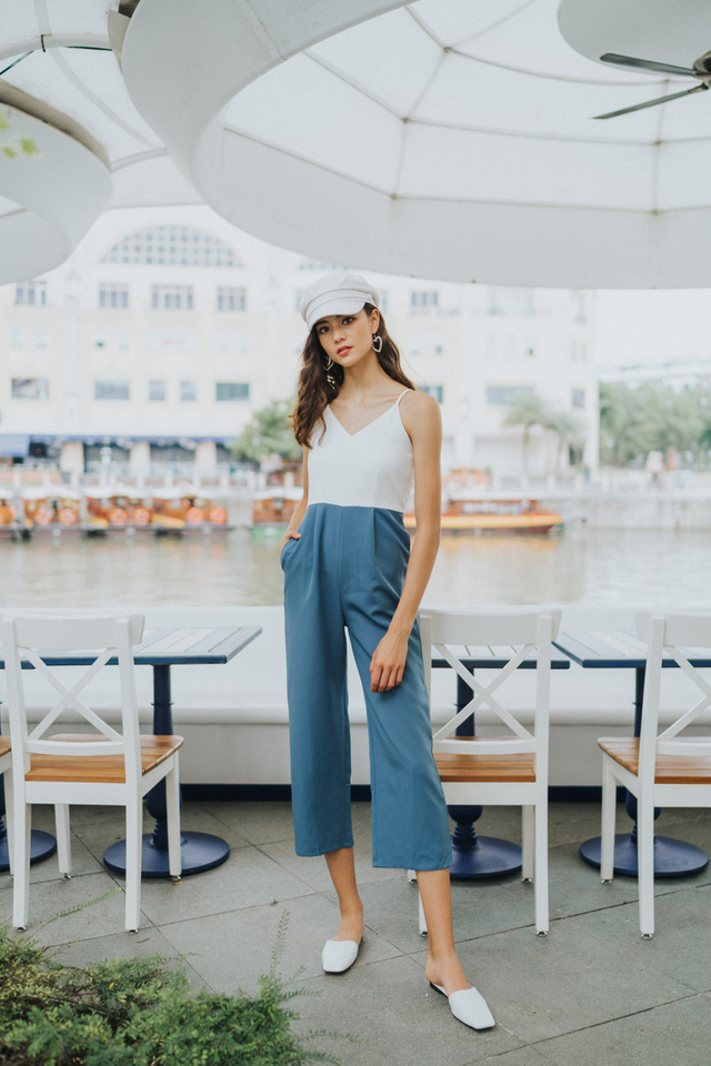 Rachelle Colourblock Jumpsuit in Blue