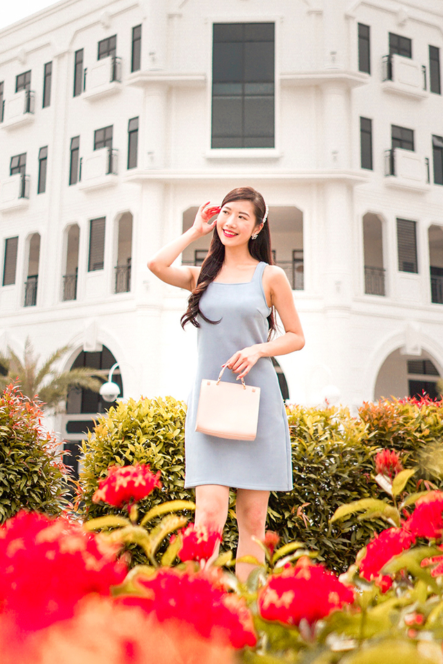 Sofea Square Neck Suede Dress in Light Blue