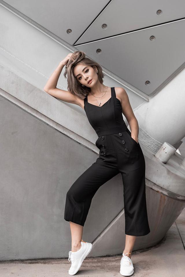 Fallen Button Jumpsuit in Black
