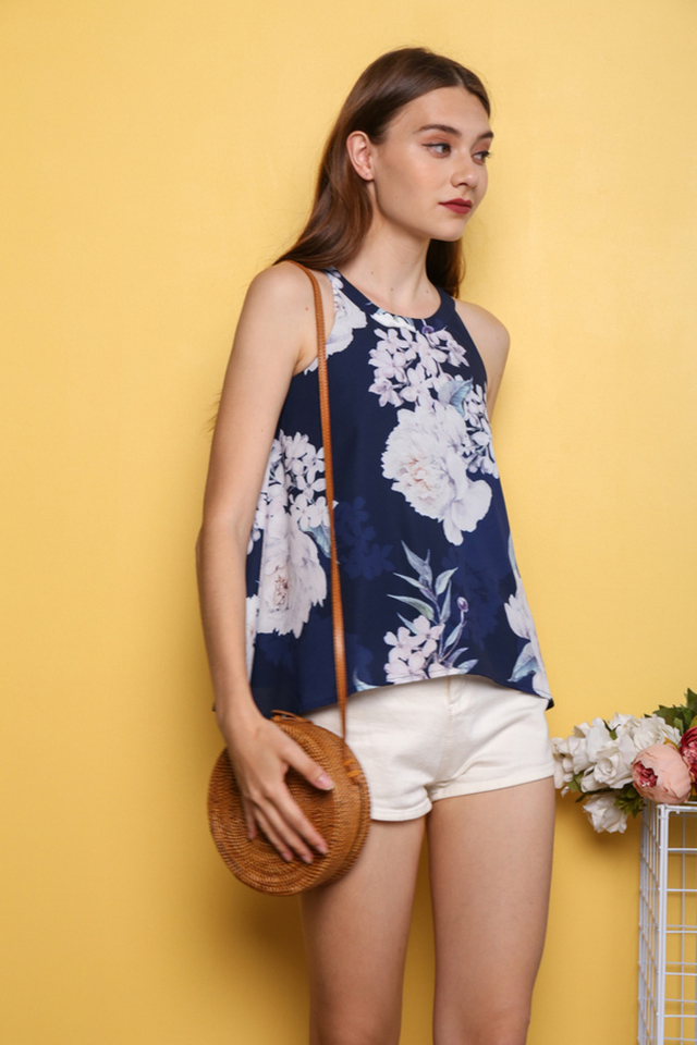 Sangjin Floral Halter Neck Top in Navy