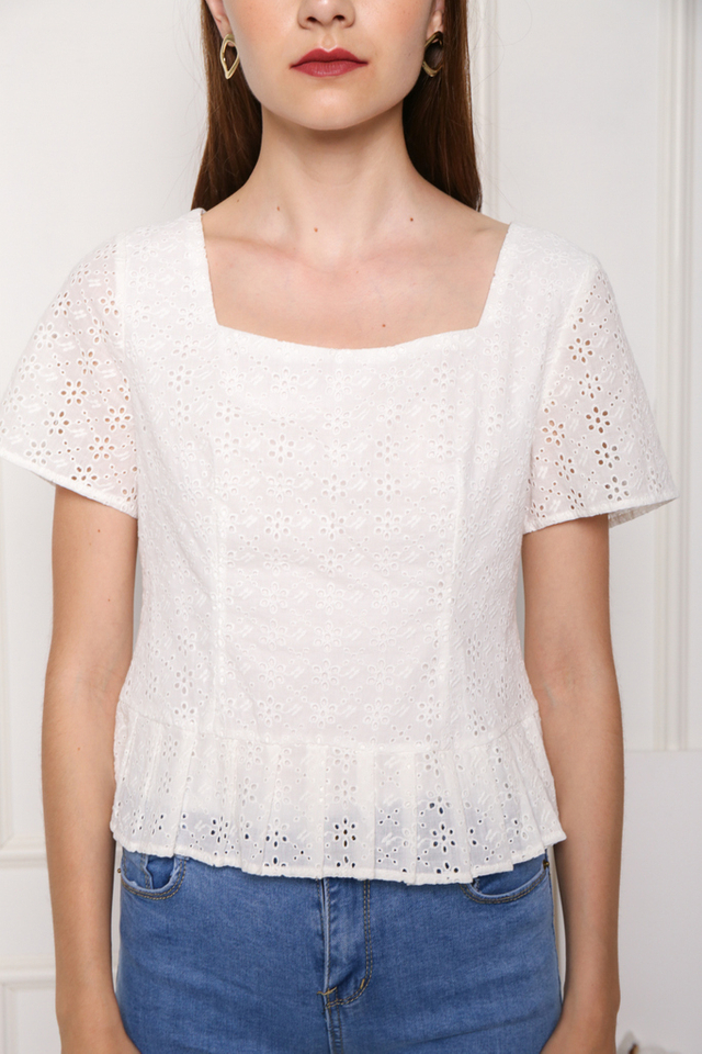 Hara Square Neck Eyelet Top in White